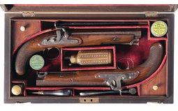 Cased Pair of William Bond Percussion Pistols with Accessories