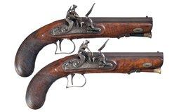 Pair of Flintlock Coat Pistols by W. Edwards of Devonport