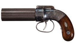 Cased Engraved Allen & Thurber Percussion Pepperbox