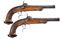 Pair of Liegoise Percussion Dueling Pistols