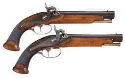Pair of Wichmann Eliptical Blunderbuss Percussion Pistols
