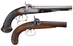 Collector's Lot of Two Double Barrel Percussion Pistols