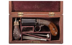 Cased Engraved Blunt & Syms Pocket Size Percussion Pepperbox