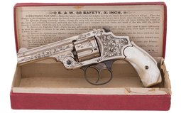 Engraved Smith & Wesson 38 Safety Hammerless Revolver