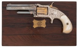 Engraved S&W No. 1 1/2 2nd Issue Revolver with Retailer Case