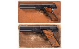 Two Colt Woodsman Match Target Semi-Automatic Pistols with Boxes