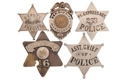 Collector's Lot of Five Law Enforcement Style Badges