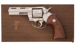 Desirable Nickel Colt Python Double Action Revolver with Box