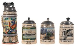 Four German Military Service Steins