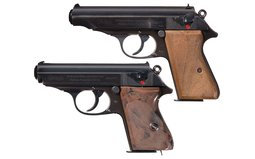 Two Walther Nazi Pistols with Holsters