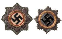 Set of Two German Crosses in Gold, Metal/Cloth