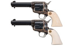 Consecutive Pair of Third Generation Colt SAA Revolvers Lettered
