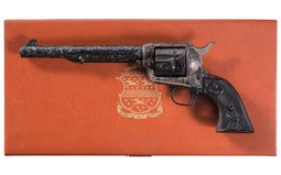 Engraved Colt 3rd Generation Single Action Army Revolver & Box