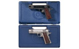 Two Colt Semi-Automatic Pistols with Cases