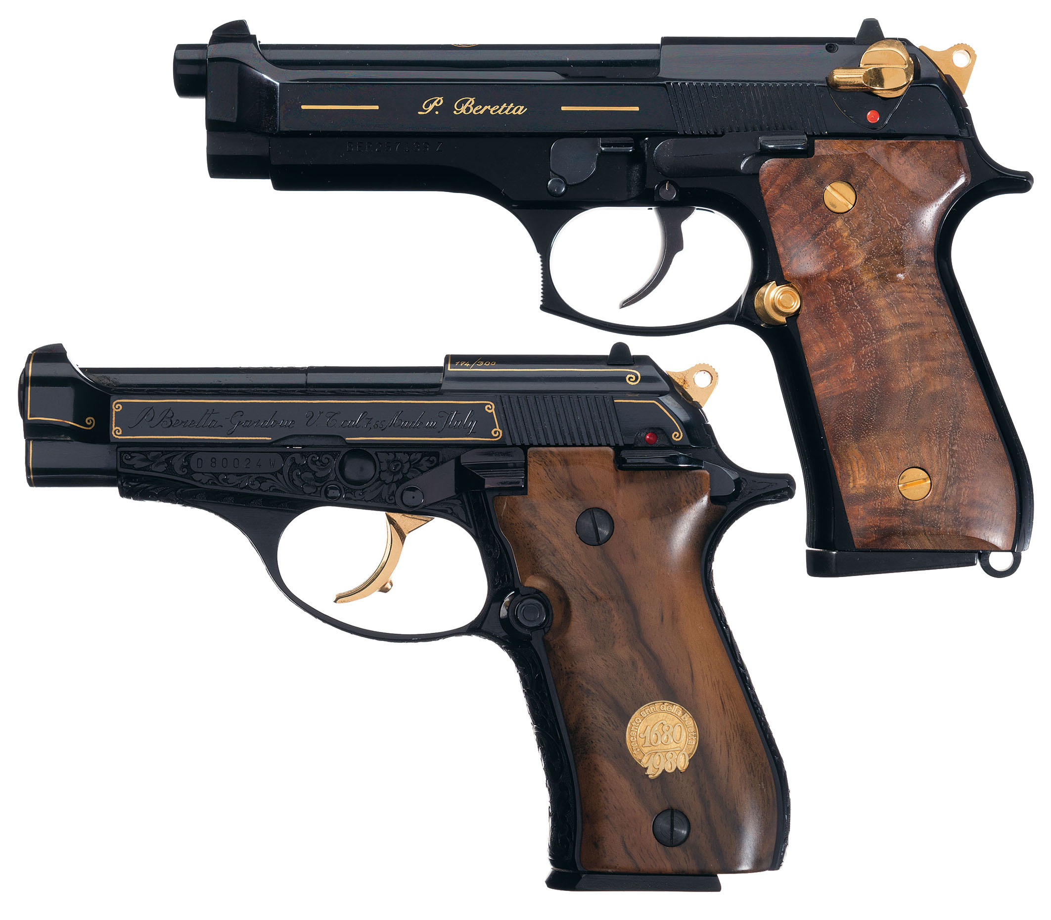 Two Gold Highlighted Beretta Semi-Automatic Pistols with Cases