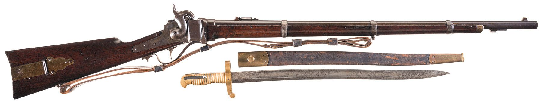 Sharps New Model 1859 Percussion Military Rifle with Bayonet