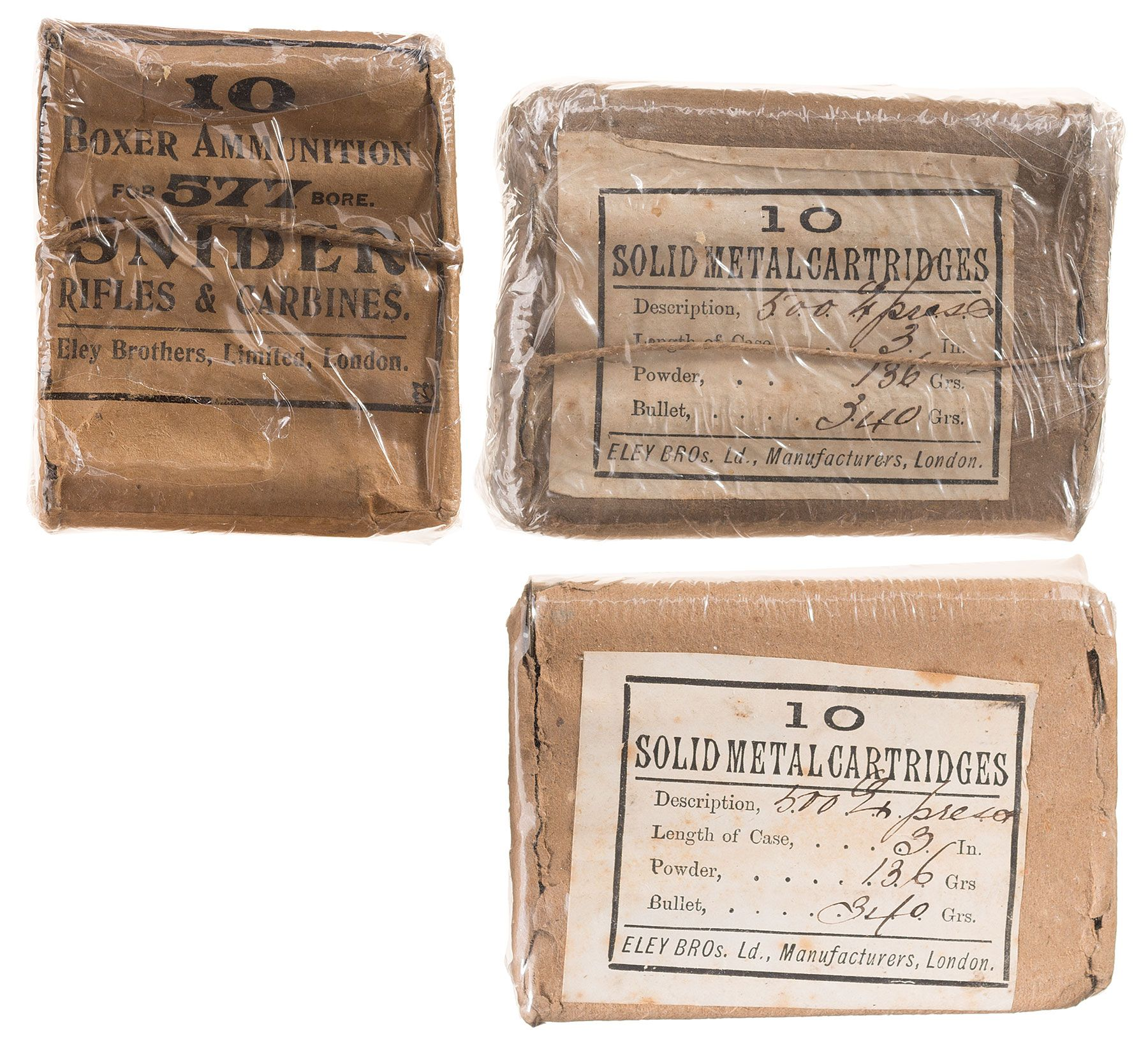 Three Packages of Vintage Eley Bros  Large Bore Ammunition