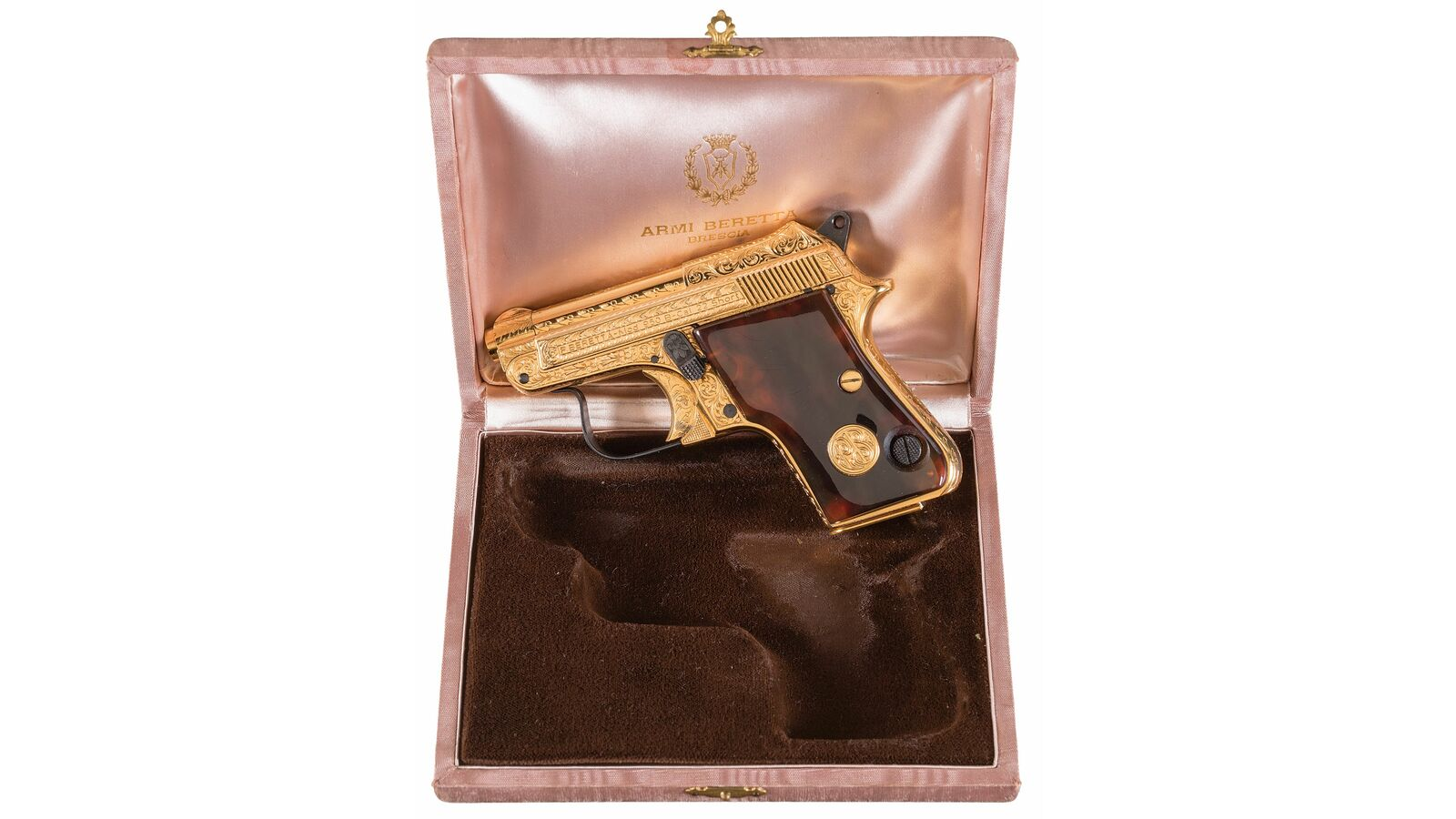 Gold/Engraved Beretta Model 950B Deluxe Pistol with Case