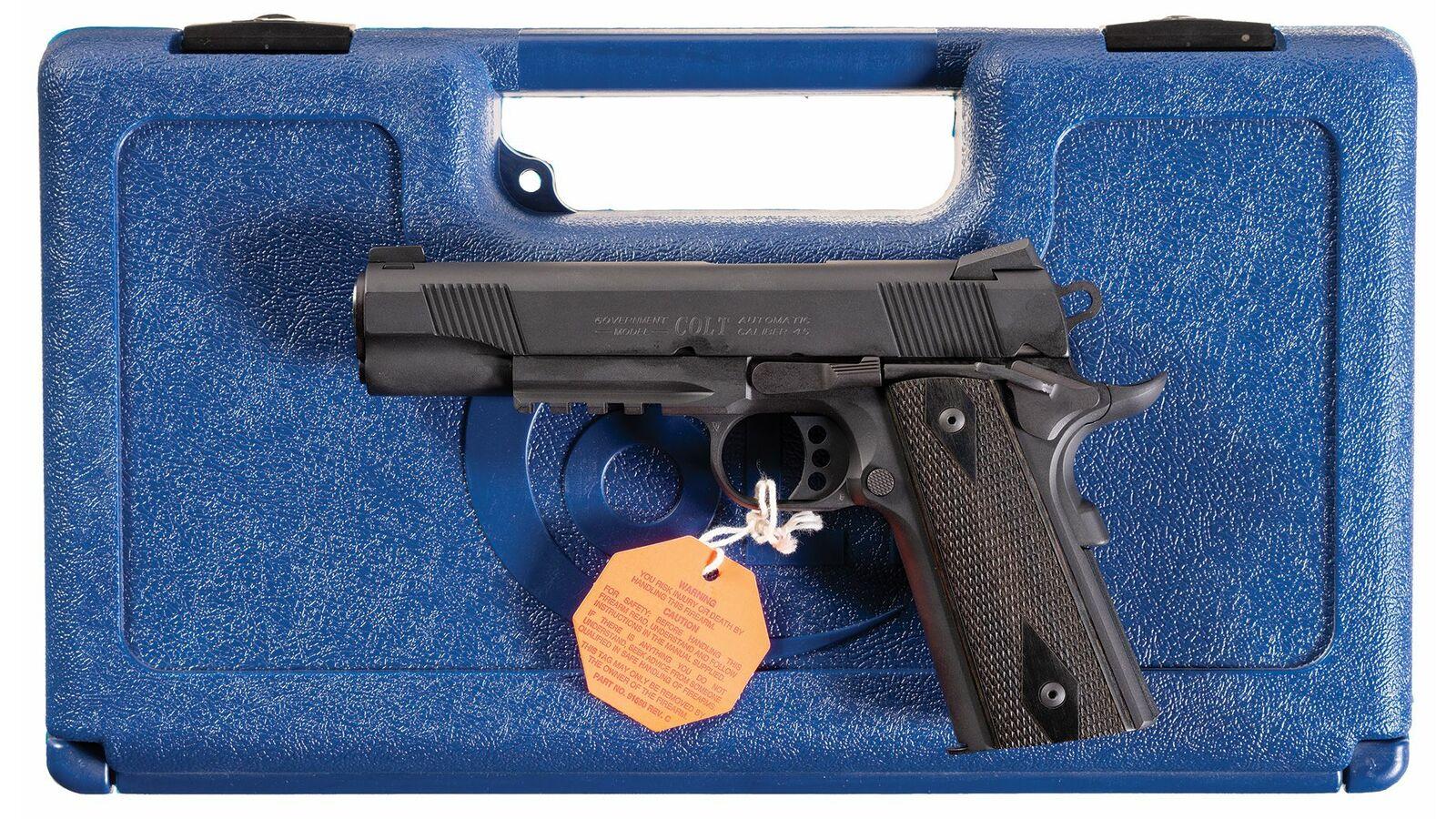 Colt Government Model Rail Gun Semi-Automatic Pistol with Case