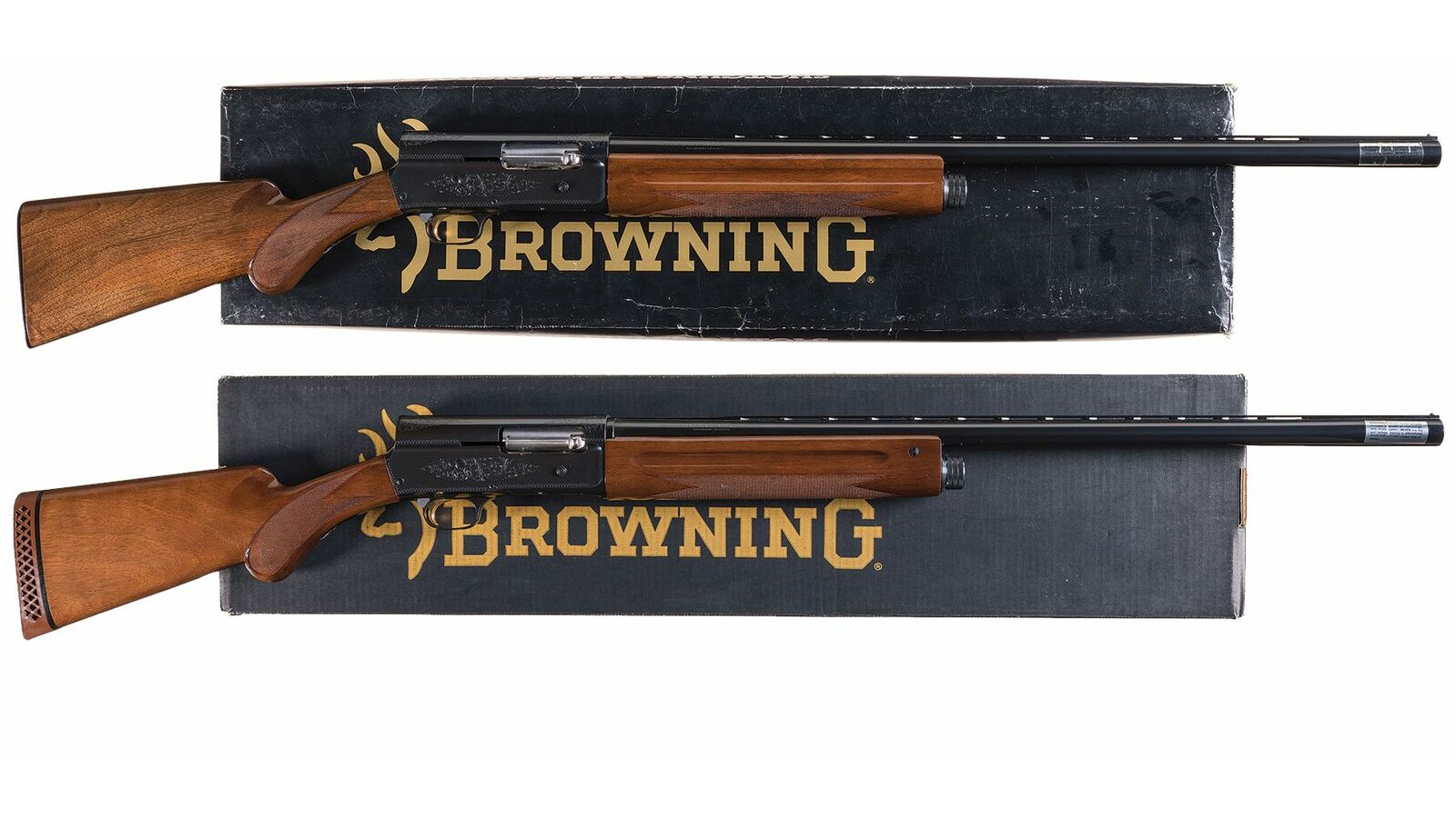 Two Engraved Browning Auto 5 Semi-Automatic Shotguns with Boxes