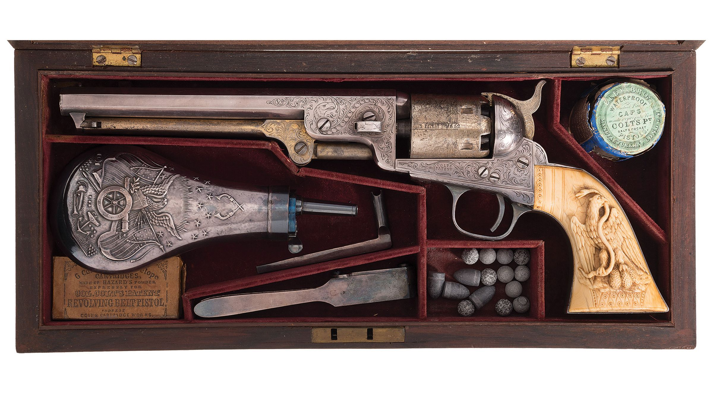 Cased Engraved, Gold & Silver Plated Colt 1851 Navy Revolver