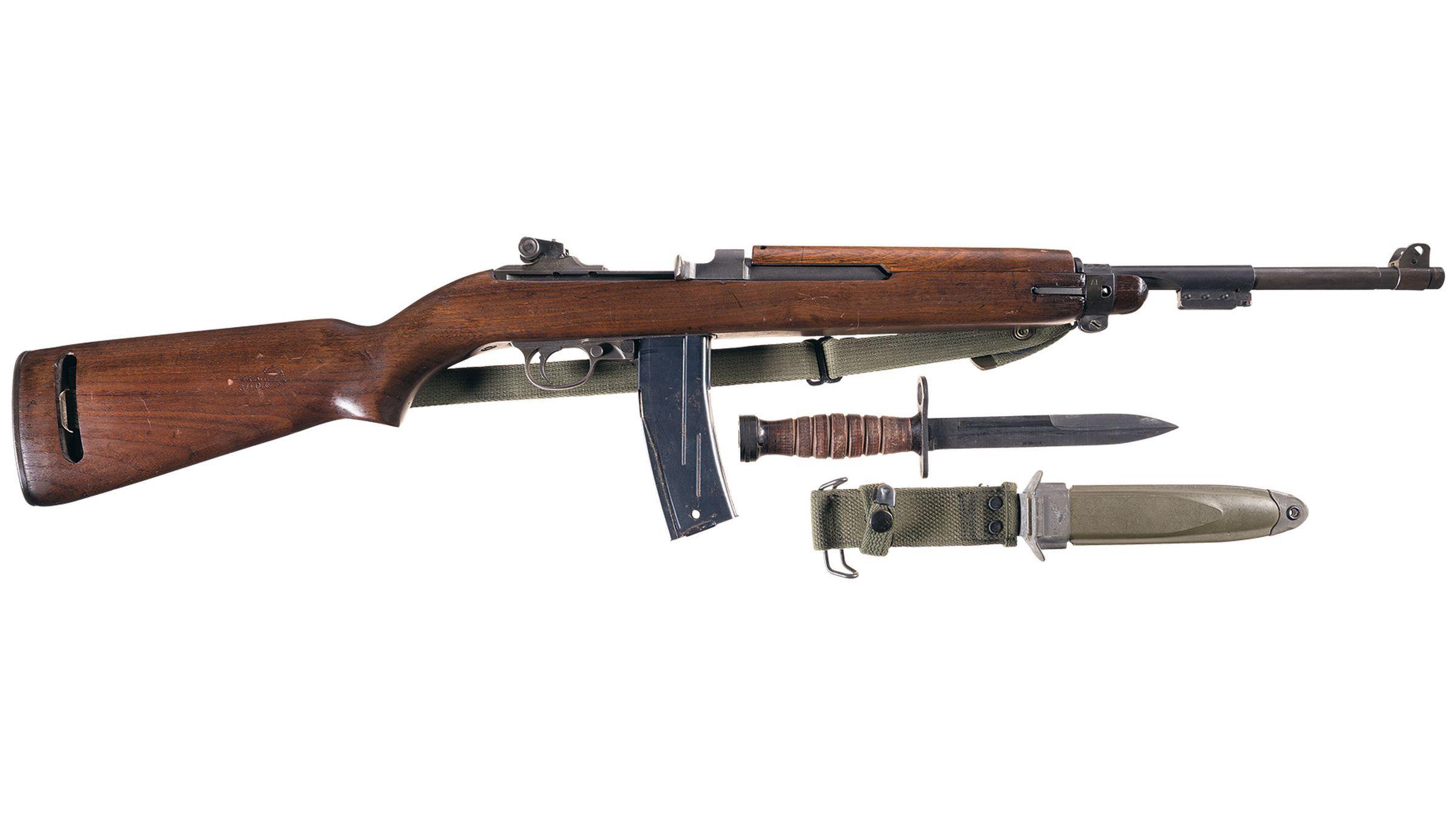 U S  Winchester M1 Carbine w/2 Ex  Mags, Bayonet