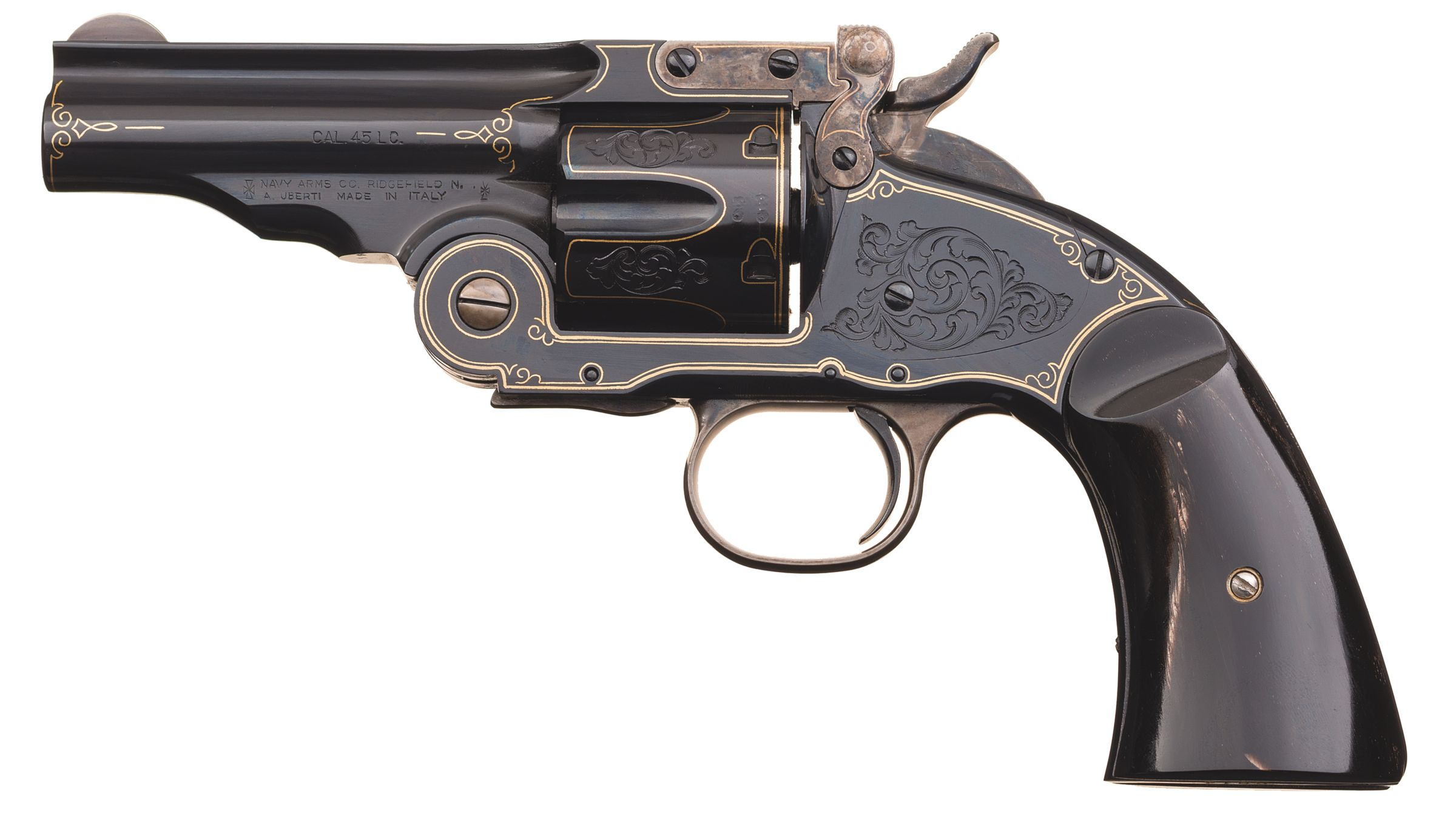 Engraved and Gold Inlaid Uberti/Navy Arms Schofield Revolver